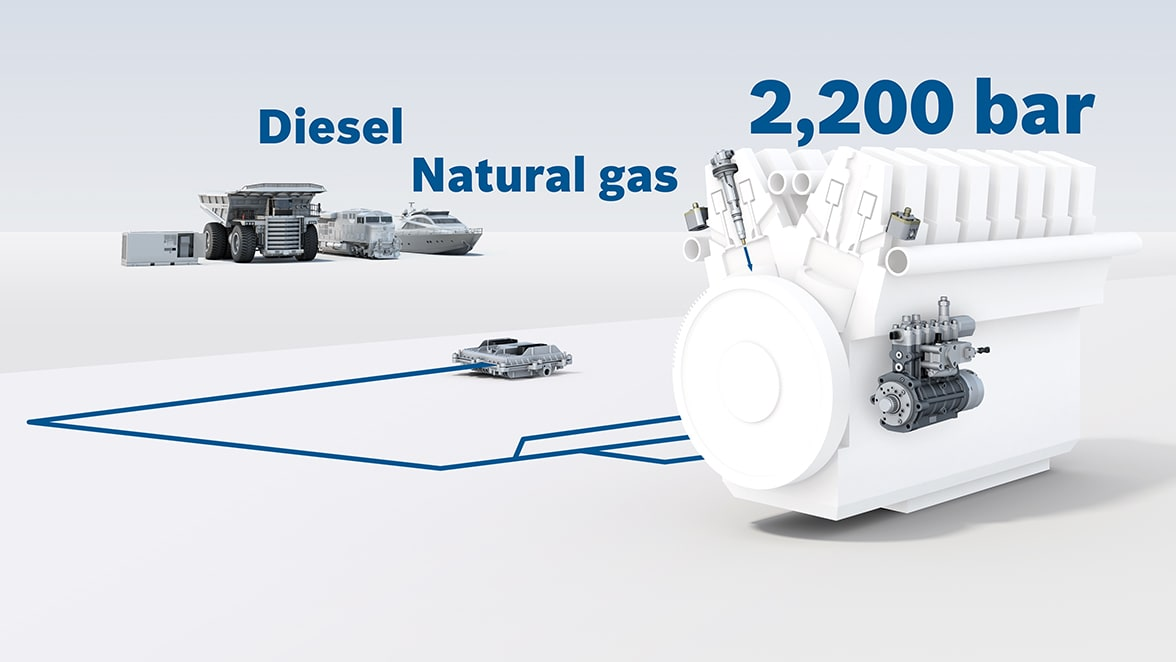 Gas and dual-fuel injection systems for large engines