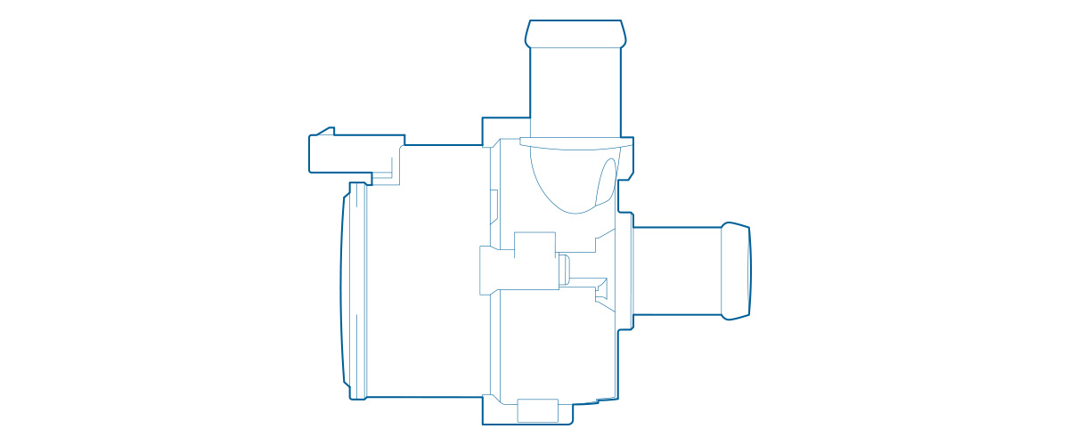 Detailed view of PAD2 electric coolant pump