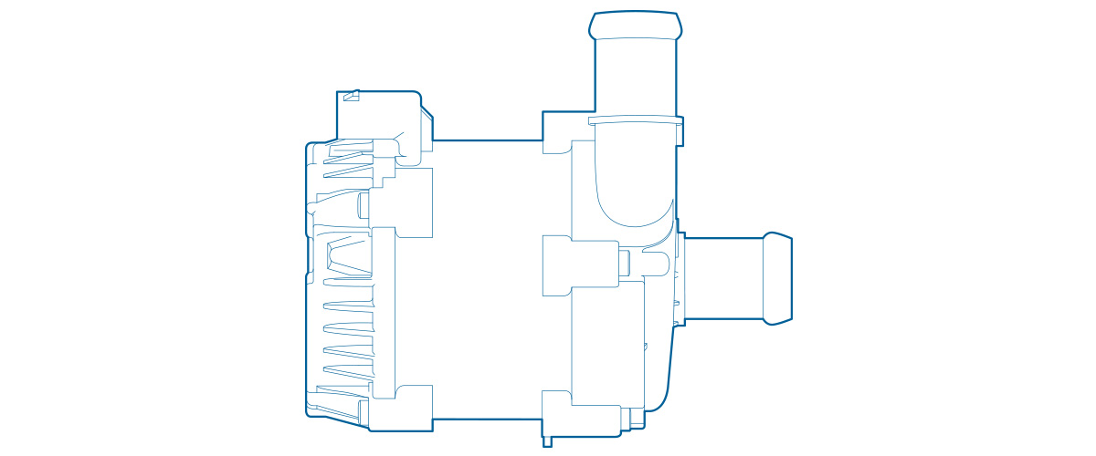 Detailed view of PCE electric coolant pump